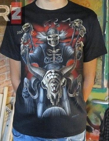bluza czarna z nadrukiem kościotrupa na motorze